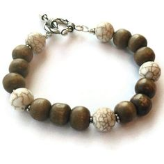 Brown Wood Bracelet White Turquoise Bracelet by jewelrybycarmal, $25.00