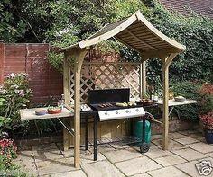 Grill BBQ Wooden Arbour Barbecue Shelter Outdoor Patio Party Gazebo Bench Garden - Gazebos