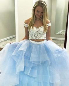 Off The Shoulder Two Piece Prom Dress With Sleeves A Line Long Prom Dress #VB1585