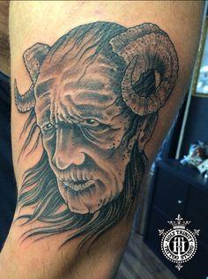 The devil tattooed in the studio by Greg  #deviltattoo