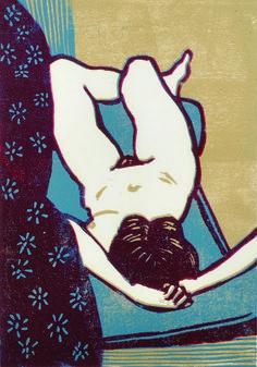 "Sidney Horne Shepherd (1909-1993) British. 'Reclining Nude', Linocut, 12.25"" x 8.5""."
