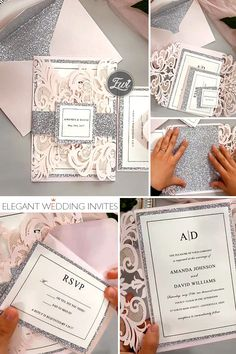 diy blush pink and silver color theme wedding invitations #weddinginvitations #pinkweddings #lasercutweddinginvites