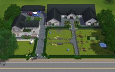 Could use the same concept! Our house on one side, and fenced area for the dogs … – Modern Design - Modern Sims 3, Dream Stables, Dream Barn, Minecraft Horse Stables, Horse Farm Layout, Sims Pets, Horse Barn Designs, Horse Barn Plans, Farm Plans