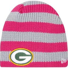 New Era Green Bay Packers Ladies Breast Cancer Awareness Knit Hat - Pink/Gray