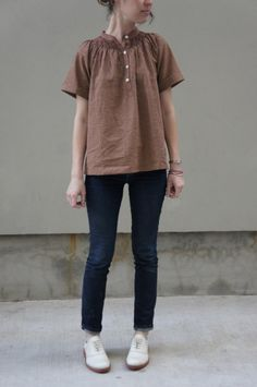Dell and Moxie/ blouse, denim slim and white oxford