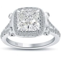 3.34 Carat G-SI1 Radiant Cut Diamond Engagement Ring 18k Pave Halo Vintage Style