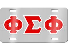 Chrome mirrored Phi Sigma Phi license plate with cardinal red and white reflective letters. Has mounting holes for easy installation on any standard car. Comes with a removable protective film to keep your license plate scratch-free.