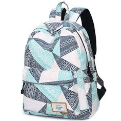 How nice Fresh Geometric Pattern Printing Girl s Student Rucksack  Waterproof Large Canvas School Backpack ! I e1a7d71463e45