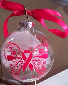 Breast cancer ribbon ornament Priority by CraftilyEverAfterIL