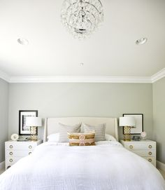 Stylish white and brass bedroom: http://www.stylemepretty.com/living/2014/02/05/san-clemente-home-tour-with-shea-mcgee/ Photography: Brooke Palmer - http://www.brookepalmerimage.com/