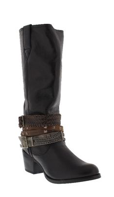 """Durango """"Crush"""" Women's 14"""" Philly Black Accessorized Round Toe Boots Faux leather upper Full-grain leather accessories Single-stitched welts Mesh-lined shafts Tempered steel shanks 2 1/2"""" fashion heel Cushion flex insole Rubber outsole  