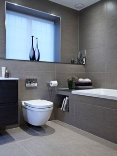 Bathroom Renovation Ideas: bathroom remodel cost, bathroom ideas for small bathrooms, small bathroom design ideas Grey Bathroom Tiles, Gray Bathroom Decor, Gray And White Bathroom, Family Bathroom, Bathroom Layout, White Bathrooms, Small Bathrooms, Grey Tiles, Master Bathrooms