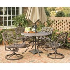 Home Styles Biscayne 5 Piece Metal Patio Dining Set (863.030 CLP) ❤ liked on Polyvore featuring home, outdoors, patio furniture, bronze, outdoors patio furniture, outside patio furniture, outdoor garden furniture, outdoor furniture and metal garden furniture