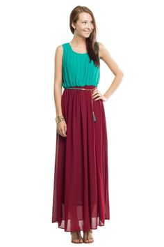 Colorblock Maxi Dress with Belt