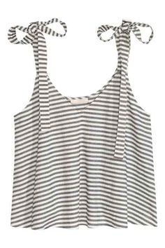 H&M Short Camisole Top - White/striped - Ladies - ShopStyle H&m Fashion, Fashion Online, H&m Tops, Crop Tops, Tank Tops, H&m Sale, H&m Shorts, Sleeveless Crop Top, Short Tops