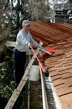 Clogged gutters can cause water leakage into the house as the water backs up. Clogged gutters can also lead to stagnant water build up which allows mosquitoes to breed and also allow grasses and weeds to grow in the gutter. Cleaning Kit, Gutter Cleaning, Cleaning Equipment, Gutter Leaf Guard, Gutter Guards, Cleaning Microwave With Lemon, Best Ladder, Clean Couch, Cleaning Business