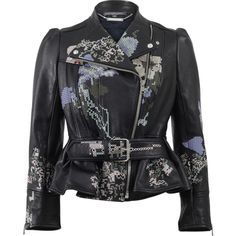 Alexander Mcqueen Cross-stitch Peplum Leather Jacket ($5,825) ❤ liked on Polyvore featuring outerwear, jackets, floral leather jacket, black jacket, embroidered jacket, lined leather jacket и slim leather jacket