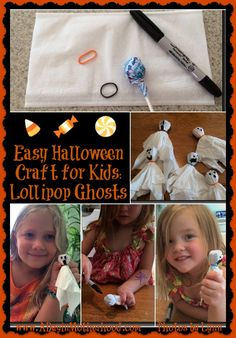Easy Halloween Craft for Kids: Lollipop Ghosts http://www.adayinmotherhood.com/easy-halloween-craft-for-kids/