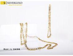 1-3-631-1-Pulsera (21 cm) Cadena (52 cm)alternadas eslabones dobles c mosquetÃn L 3438 Gold Necklace, Jewelry, Fashion, Gold Necklaces, Doubles Facts, Chains, Silver, Bangle Bracelets, Moda
