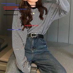 edgy outfits Buy Melon Juice Mock Two-Piece Striped Sweatshirt Girls Winter Fashion, Girl Fashion Style, Girls Fashion Clothes, Look Fashion, Fashion Outfits, T Shirt Fashion, Fashion Edgy, Fashion Hair, Clothes Women