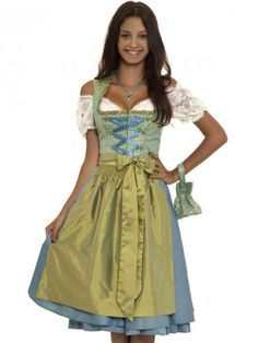 Dirndl Sofia (green, turquoise, teal, gold) - Kinga MATH