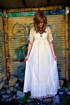 long vintage lace dress.