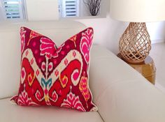 Ikat Pillows, Akita Cushions, Vibrant Colourful Cushions Hot Pink, Magenta , Cushions Toss Pillows, Cushions. Beach House Cushions