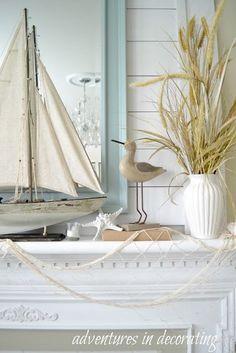 Adventures in Decorating Coastal mantle beach house pretty! Sailboat, nautical decor Beach Cottage Style, Beach Cottage Decor, Coastal Cottage, Coastal Style, Coastal Farmhouse, Coastal Bedrooms, Coastal Living Rooms, Seaside Decor, Coastal Decor