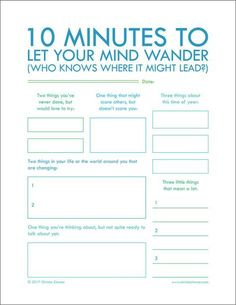 "Minutes To Let Your Mind Wander"" - Printable Journal Pages to help you put your thoughts into words. Journal writing is an important step in not only understanding yourself but also improving your relationships. Motivation, Group Counseling, Bujo, Social Work, Writing Tips, Writing Challenge, Creative Writing, Pre Writing, Worksheets"