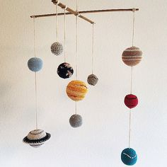 Solar System Planets Mobile- Hand Crochet, home decor, nursery, - 100% cotton- Ready to Ship