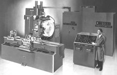 1959 #CNC Machine: Milwaukee-Matic-II was first machine with a tool changer...    The first commercial NC machines were built in the 1950's, and ran from punched tape. While the concept immediately proved it could save costs, it was so different that it was very slow to catch on with manufacturers. In order to promote more rapid adoption, the US Army bought 120 NC machines and loaned them to various manufacturers so they could become more familiar with the idea