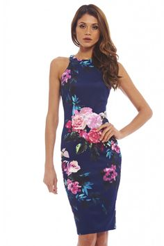 NAVY SLEEVELESS FLORAL PRINT MIDI DRESS | Shop Trendy Unique Cute Clothes & Dresses | ModMint