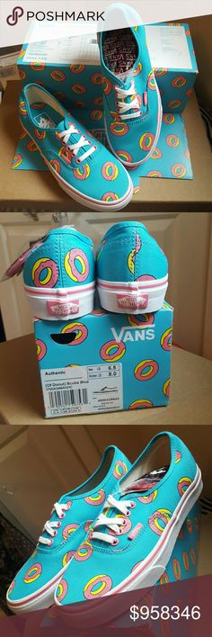 Lmtd.Edit.VANS(OF)(Donuts)Scuba Ble Authentics W8 Brand new, in box, with tags. VANS x ODD FUTURE Colac. Authentic originals in the OF Donuts and scuba blue. These are a -WOMEN'S SIZE 8-/-MENS SIZE 6.5. Box size tag and skew are pictured of you still don't understand the size conversion.  I haven't even tried them on yet and I've had them since the release. Undecided about selling, make me an offer of can't say no one. Nothing under 65,no that's not my lowest, I'm just telling you,so you…