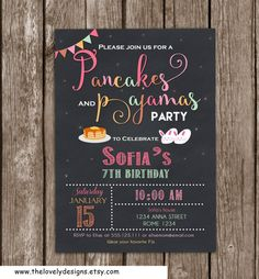 Pancakes and Pajamas Birthday  Invitation by TheLovelyDesigns