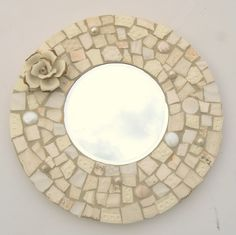mosaic mirrors | Winter White Broken China Mosaic Round Mosaic Mirror                                                                                                                                                                                 More