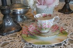 Royal Albert: tea cup, saucer, and plate in  Bone China, collection ''blossom time''