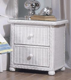 Elana 2 Drawer Wicker Nightstand by wicker liked from a luxurious wicker sofa. Outdoor Sofa Sets, Outdoor Wicker Furniture, Wicker Sofa, White Wicker Bedroom Furniture, Furniture Decor, Furniture Design, Cane Furniture, 2 Drawer Nightstand, Decoration