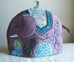 Elephant Tea Cosy/Tea Cozy Digital Pattern Make by RichardAndSon Tea Cosy Pattern, Teapot Cover, Free Motion Embroidery, Elephant Love, Small Elephant, Elephant Pattern, Textiles, Crochet Geek, Hand Crochet