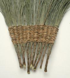 "Helle Jorgensen, casuarina ""skirt"", Allocasuarina and hemp string Weaving Projects, Weaving Art, Loom Weaving, Finger Weaving, Pine Needle Crafts, Brooms And Brushes, Pine Needle Baskets, Basket Crafts, Textile Fiber Art"