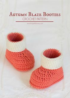 Autumn Blaze Baby Booties - These free crochet baby booties are the perfect autumn treat