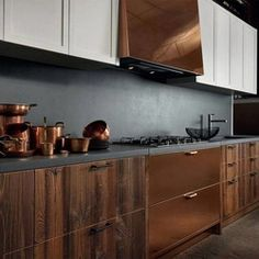 Wood and cobber - rough kitchen design from Factory Collection by Aster Cucine