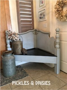 FOR SALE! Corner bench made from a California King headboard $350. Painted a distressed grey and antiqued, seat stained in Ebony and sealed. Located in Enoch, will hold with payment. Contact me for possible delivery options. #picklesanddaisies #chalkpaintdust #chalkpaint #southernutah #cedarcity #Enoch #bench #utah #diy