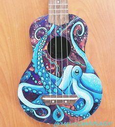 Custom ukulele painting with an octopus painted by Melissa Hood. www.melissahoodart.com Octopus Painting, Octopus Art, Guitar Painting, Guitar Art, Cool Guitar, Painted Ukulele, Painted Guitars, Pinstriping, Ukulele Design