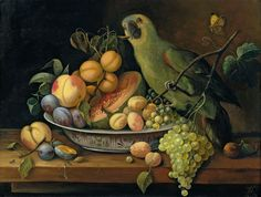 Still Life with Fruit and Green Parrot ~ artist Leopold Stoll,  19th century  #art #still_life #painting