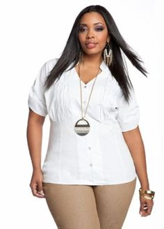 Ashley Stewart Womens Plus Size Pleat Detail Button-front Shirt White 24,