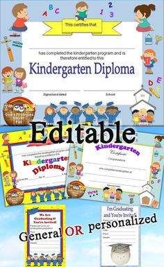 Editable Christian Kindergarten diplomas, certificates, and graduation invitations with religious images. Includes 3 different designs, general and personalized graduation invitations, color and no color backgrounds.