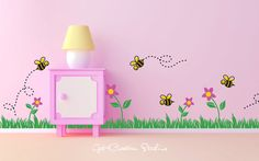 Bee Decal Grass Wall Decal Flower Border Decal Bumble Bee Decal Spring Nursery Decal Wall Border Bee Border Baby Room Nature Wall Border