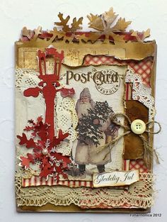 Grungy Vintage Christmas Card...with post card paper, lace, button, twine, torn papers, & snowflakes.
