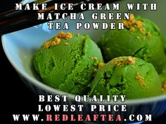 "Make great tasting Green Tea Ice Cream. We offer largest selection of green tea powders at the lowest price.  Please use coupon ""PINTEREST20"" for 20% discount on our matcha tea products. www.RedLeafTea.com #matcha #greenteapowder #icecream #redleaftea Green Tea Ice Cream, Make Ice Cream, Matcha Green Tea Powder, Red Leaves, Icecream, Coupon, Ethnic Recipes, How To Make, Products"