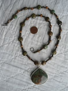 Genuine Natural Green and Brown Picture Jasper Handmade Beaded Necklace Sterling Silver Boho Style Jewelry by LandofBridget, $32.00